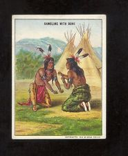 1910 T73 Hassan Cork Tip Cigarettes Indian Life in the 1860's Gambling with Bone