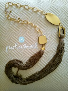 Macrame chain necklace, with gold plated elements,double platinium,brown/camel floss by polasoeljewelry on Etsy Macrame Necklace, Camel, Great Gifts, Necklaces, Chain, Brown, Gold, Etsy, Beautiful