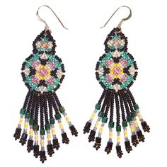 Huichol Indian Beaded Earrings in Black, Turquoise and Rose