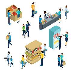 Isometric People Shopping vector art illustration
