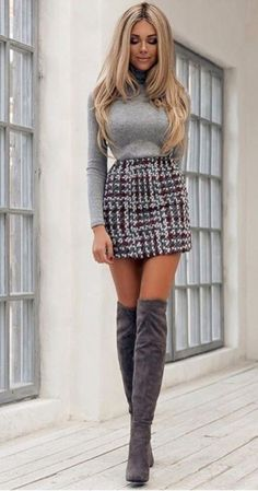 Outfit Casual Chic Fashion With Mini Skirt -Over Knee Boots Outfit Casual Chic Fashion With Mini Skirt - Pick from over 1000 tartans! Lady's Custom Tartan Hostess Kilt (Short) – Great Scot (Scotland) Ltd Plaid Above-the-knee Skirt Cute Skirt Outfits, Cute Skirts, Sexy Outfits, Casual Outfits, Mini Skirts, Casual Boots, Pretty Outfits, Winter Fashion Outfits, Fall Outfits