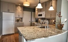 Love this cabinet color with white appliances, taupe.