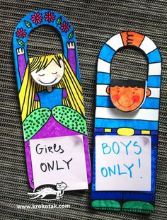 Diy door tags- could be made into name tag to hang on chairs? Crafts For Kids To Make, Fun Crafts, Art For Kids, Diy And Crafts, Paper Crafts, School Art Projects, Projects For Kids, Door Tags, Printable Crafts