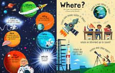 Peter Donnelly Illustration - Questions & Answers about Space! Space Books For Kids, Magazines For Kids, Space Kids, Space Space, Magazine Layout Design, Book Design Layout, Space Illustration, Illustration Styles, Kids Activity Books