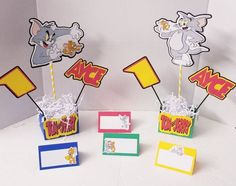 Personalized Tom and Jerry tent cards | Etsy Happy Birthday Banners, Birthday Decorations, Cute Pizza, Seating Cards, High Chair Banner, Tent Cards, Tom And Jerry, Minnie Mouse Party, Party Centerpieces