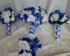 Silk Bridal Bouquet Royal Blue Wedding by BudgetWeddingBouquet,