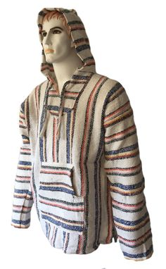 #Hoodie mexican baja jerga festival surf #skateboarding #hippie white stripy mix,  View more on the LINK: 	http://www.zeppy.io/product/gb/2/292010984128/
