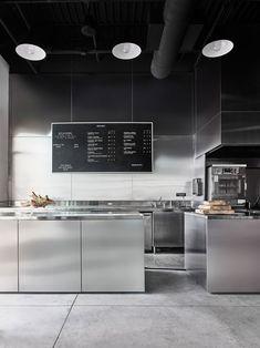 Modern open kitchen restaurant design open kitchen at bad lab beer co restaurant kitchen cabinets . Restaurant Kitchen Design, Modern Restaurant, Restaurant Interior Design, Cafe Interior, Interior Exterior, Kitchen Interior, Interior Architecture, Layout Design, Küchen Design