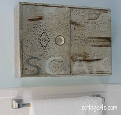 bread drawer upcycled to bathroom cabinet