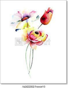 Decorative summer flowers - Artwork  - Art Print from FreeArt.com