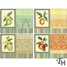 Cloth Placemats Summer Fig Fruit Kitchen Decor Food Pink Navy Set of 2