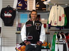 Black, red and white letterman jacket