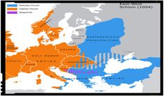 The East-West Schism of The distribution of Roman Catholicism and Eastern Orthodox beliefs in Europe. My Grandma Thornley was Roman Catholic in the western area of the Hungarian Empire. Notice large Slavic areas (Russia today) are Eastern Orthodox. European Map, European History, American History, Ap World History, Ancient History, Ancient Aliens, Anglo Saxon Kingdoms, By Any Means Necessary, World Religions