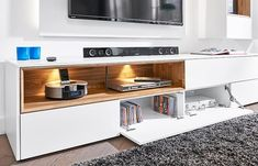 Modern wall storage system in matt white TV unit & 2 wall cabinets