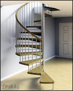 Captivating Spiral Space Saver Staircase Design Idea For Small Space With Wooden Steps And Handrail And Metal Baluster And Vertical Stringer Idea - Use J/K to navigate to previous and next images