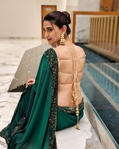 65 Stylish and Trendy Blouse Designs For Saree and Lehenga - Tikli Blouse Back Neck Designs, Sari Blouse Designs, Blouse Patterns, Saree Backless, Backless Dresses, Stylish Blouse Design, Design Of Blouse, Saree Models, Sexy Blouse