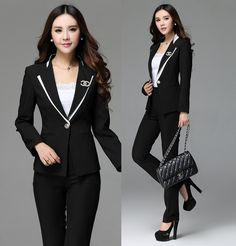 Cheap Formal trajes de pantalones de uniforme estilo para mujer de la oficina… Business Outfits Women, Business Women, Jackets For Women, Clothes For Women, Office Looks, Everyday Outfits, Work Wear, Fashion Outfits, Female