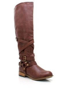 Leather Buckle Riding Boot - Brown