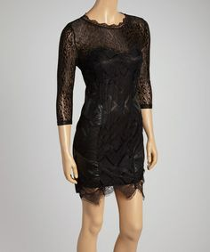 Love this Black Lace Three-Quarter Sleeve Dress - Women by Peppe Peluso Studio on #zulily! #zulilyfinds