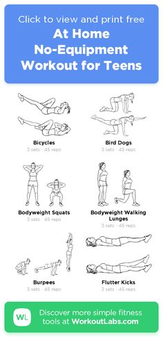 At Home No-Equipment Workout for Teens · WorkoutLabs Fit Easy Workouts For Beginners, Beginner Workout At Home, Leg Workout At Home, Workouts For Teens, Home Exercise Routines, Exercise For Kids, Fun Workouts, Free Workout, Teen Workout Plan