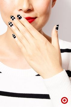 Show your stripes—double the pattern, double the fun. A graphic black-and-white mani is ultra-chic and so perfect with a bright red lip and this striped sweater from Target.