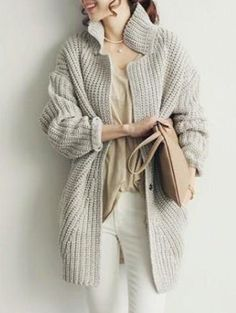Chic Women's Stand Collar Solid Color Long Sleeve Cardigan