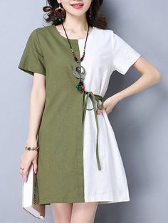 Vintage Women Short Sleeve Patchwork O-Neck Loose Dresses