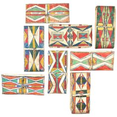 Arrangement of 19th century American Indian Abstract Paintings | From a unique collection of antique and modern native american objects at http://www.1stdibs.com/furniture/folk-art/native-american-objects/