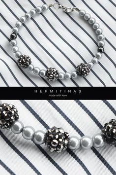 Light grey bracelet. Pearl bracelet with rhinestone by Hermitinas