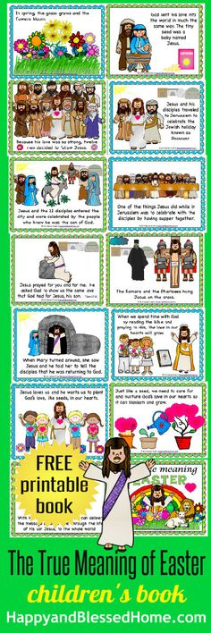 """FREE 38 Page Printable children's book """"The True Meaning of Easter"""" from HappyandBlessedHome.com"""