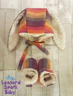 Lenny Lamb Sunset Rainbow soft sherpa lined by LeopardSpotsBaby