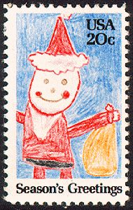 The 1984 contemporary Christmas stamp was the winner of a students' stamp design project. He was  Danny LaBoccetta, a 3rd-grade student at Our Lady of Perpetual Help School in Jamaica, New York. (He was in 5th grade when the stamp was issued.) This was the first time in U.S. stamp history that Santa appeared on a stamp two years in a row.