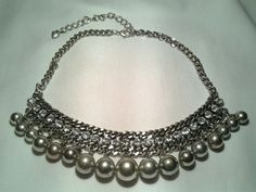 Vintage Silver Steel Egyptian Cleopatra Goddess Rhinestone Bauble Necklace #unbranded #Chain