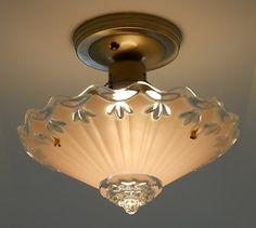 C 30's 3 Chain Vintage Art Deco Antique Chandelier Ceiling Light Fixture Lamp | eBay