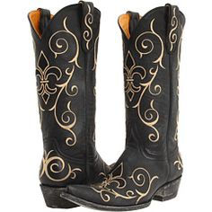 black embroidered Old Gringo cowboy boots