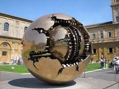 sculptures of metal balls in plazas - Gold Ball Sculpture Vatican City: Sculpture, Statue, Art, Arnaldo Tomato, The