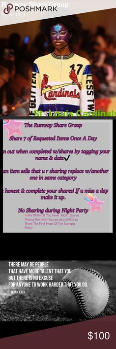 """Runway Share Group St. Louis Cardinals St. Louis Cardinals -WELCOME 😘😇SEE THE DIRECTIONS⬆️If you have not shared during the day, you may share to the Night Party During The First Hour. The Goal is to increase your Sales! Please Remember to sign out """"EVERY"""" Day!  Example @upstateangel 8:06 pm EST.  This tells everyone what time zone your in. ( fun to know 😉 If for any reason you you have an EMERGENCY 🚨 TAG @upstateangel. YOU MUST LIKE THIS LISTING !! 😘😘😇 Other"""
