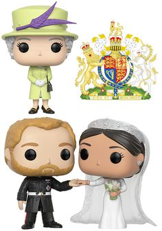 Bonecos Pop! Casamento Real: Duque e Duquesa de Sussex e a Rainha Elizabeth II