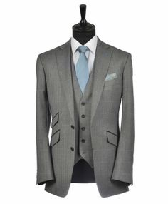Here is a very handsome Grey Herringbone Tweed Slim Cut Belmont Lounge Suit