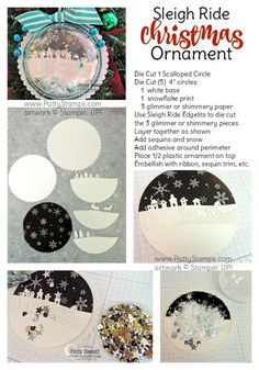 """How to make Stampin' UP! Sleigh Ride thinlint die Christmas Ornament for your tree!  Use 1/2 of a plastic ornament and matching circle dies - I used a 4"""" circle for this one. Fill with """"snow"""" and sequins, glitter, or beads. Trim with ribbon, sequin trim, glimmer paper, etc."""