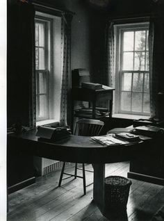 """""""A typewriter and papers remain on John Dos Passos's desk at his Westmoreland County [VA] farm. The photograph of his study was made in 1979 nine years after the author's death."""" Amir M. Pishdad/ April 17 1979 Courtesy of Richmond Times-Dispatch Westmoreland County, Writing Area, Work System, Work Pictures, Room Of One's Own, Reading Library, Old Dominion, Office Workspace, Book Cover Art"""