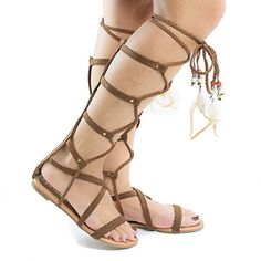 Aries6 Tan Knee High Gladiator Feathered Lace Up Leg Wrap Flat Sandals75 >>> Learn more by visiting the image link.(This is an Amazon affiliate link)