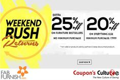 #Fabfurnish #Deals Extra 25% Off on #Furniture Bestsellers on No Minimum Purchase.