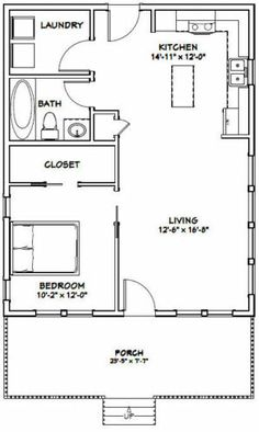 Small House Floor Plans, Cabin Floor Plans, The Plan, How To Plan, 1 Bedroom House Plans, Shed House Plans, Tyni House, Cottage House, Apartment Floor Plans