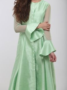 Green Raw Silk Kurta cum Dress