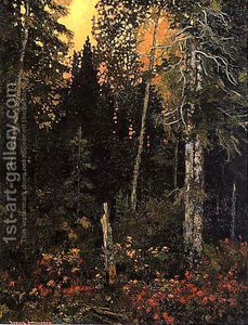 Sunset in the Bush - Frank Johnston Group of Seven Emily Carr, Canadian Painters, Canadian Artists, Landscape Art, Landscape Paintings, Nature Paintings, Art Nature, Landscapes, Group Of Seven Paintings