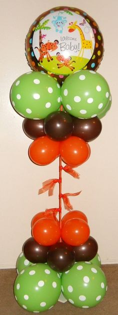 This is a DIY balloon kit perfect for a Welcome Baby Jungle Animal party theme. Includes TWO pole, light weight base, balloons, hand air inflator, other materials to make assemble easy and quick. This is intended for indoor use only. A hot/cold glue gun is required for assembly.  * Over 5ft tall *Perfect for photos *Place at entrance, next to treats or gift table  *Tutorial video also sent to your email with purchase.  *Made to order, other colors may be chosen. *Other characters availab...