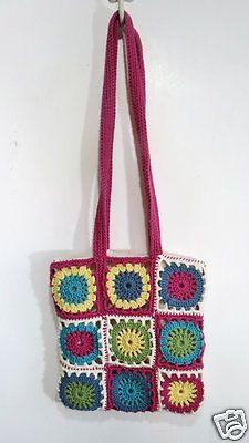 Granny-Squares-BOHO-Purse-Bag-Tote-Crocheted-Handmade-Crossbody