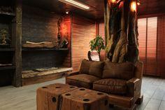 Proyecto Loft Fontova. Arquitecto: María José Bisbal A. Empresa: Nativo Red Wood Decoración de interiores arquitectura rústica, zona living.