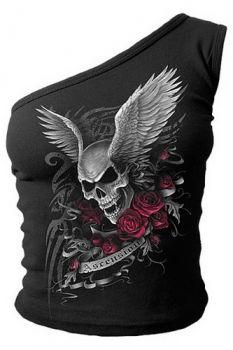 Mode Oberteile BLUSE T-Shirt Damen Schulter Schnitt Kurzärmel Punk mit Nieten